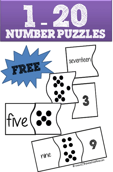 Kids will have fun practicing counting, number sense and number words one to twenty with these Free Printable Number Puzzles. This handy free math game works on numbers 1-20 to develop math fluency with preschool, pre k, kindergarten, and first grade students.