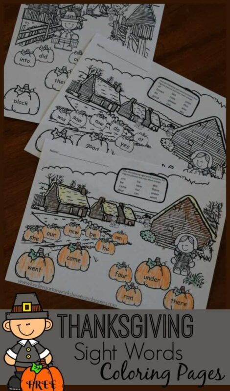 FREE Thanksgiving Sight Word Coloring Sheets | 123 ...