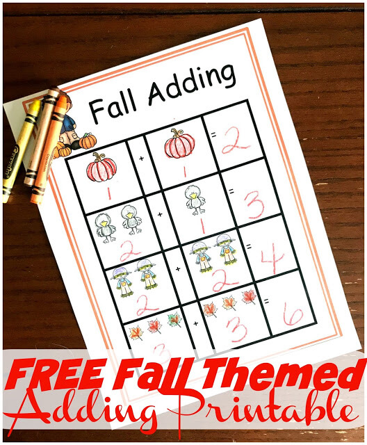 FREE Fall Themed Adding Printable - this free printable is such a fun, hands on way for kids to practice adding various fall themed items perfect for preschool or kindergarten math #fallmath #preschoolmath #kindergartenmath