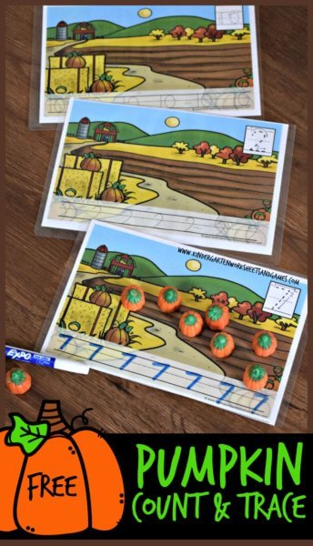 Free Pumpkin Count and Trace Worksheets - super cute printable counting mats in COLOR or BLACK & WHITE! Perfect to use with candy or other manipulative for fall math. counting sheets include space to trace numbers too. #fall #math #counting #preschool #toddker #kindergarten #worksheetsforkids #freeworksheets