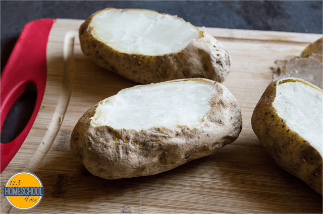 scoop out the inside of these baked potatoes