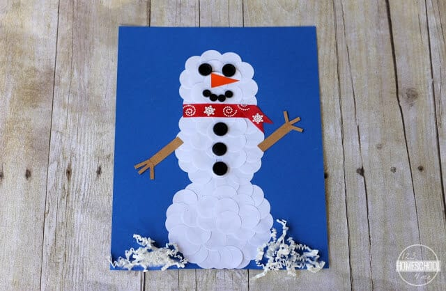 Circle Sticker Snowman Craft for Kids