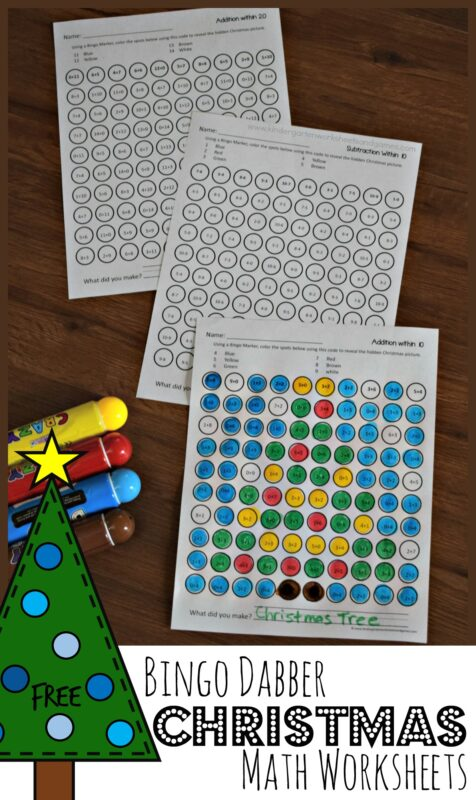 FREE Christmas Bingo Marker Addition Worksheets