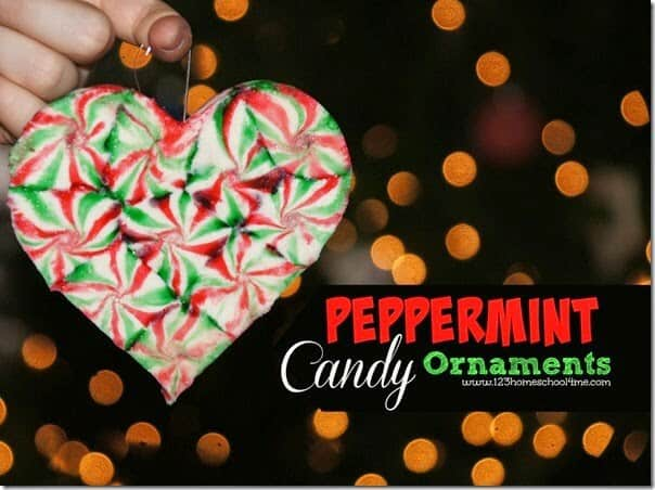 Peppermint Candy Ornaments - these fun to make, beautiful DIY ornaments make such a simple and beautiful Christmas Craft for Kids #ornaments #diyornaments #ornamentcrafts #christmascrafts #craftsforkids #peppermintcandies