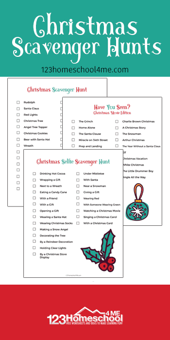 FREE Christmas Scavenger Hunts - kids of all ages will have fun with this free printable Christmas games. This is a great activity for familys and kids of all ages #scavengerhunts #christmasprintables#christmas #familyfun