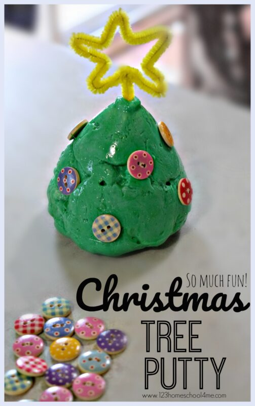 Chrsitmas Tree Putty - this fun sensory activity for December is sure to be a hit with toddler, preschool, kindergarten and first graders! This Chrsitmas kids activitiy is a great play recipe like slime and playdough #chrsitmas #christmasactiviteis #christmasplay