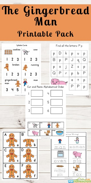 FREE Gingerbread Man Printable Pack - kids will have fun celebrating Christmas while learning math and literacy with these free printable gingerbread man worksheets for kids. So many fun alphabet, sequencing, keywords, syllables, counting, and more for preschool, kindergarten, first grade,. #gingerbreadman #christmasworksheets #freeworksheetsforkids #preschool #kindergarten #firstgrade