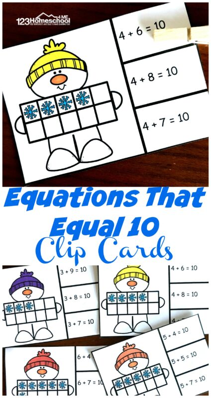 Children will have fun practicingaddition within 10 using these super cutesnowman addition free printable clip cards. Thissnowman mathactivity is perfect for kindergarten and first grade students working on addition to 10. Use thiskindergarten math game for making learning fun during winter in December, January and and February.