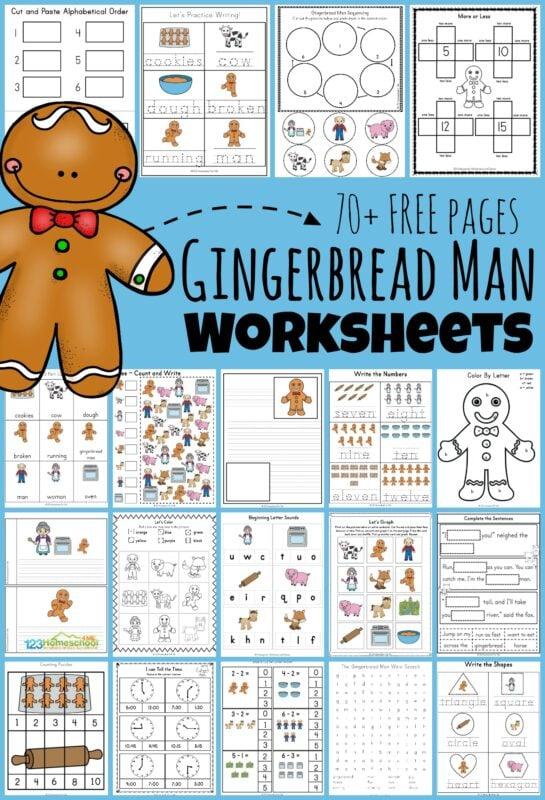 FREE Gingerbread Man Worksheets
