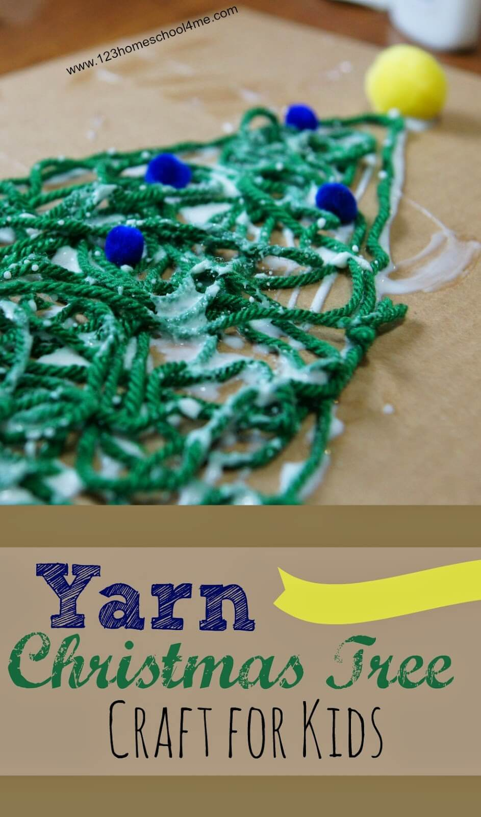 Yarn Christmas Tree Craft for Kids - what a fun project to make and I LOVE the finished product! Great Christmas Craft for Preschool, Kindergarten, and older