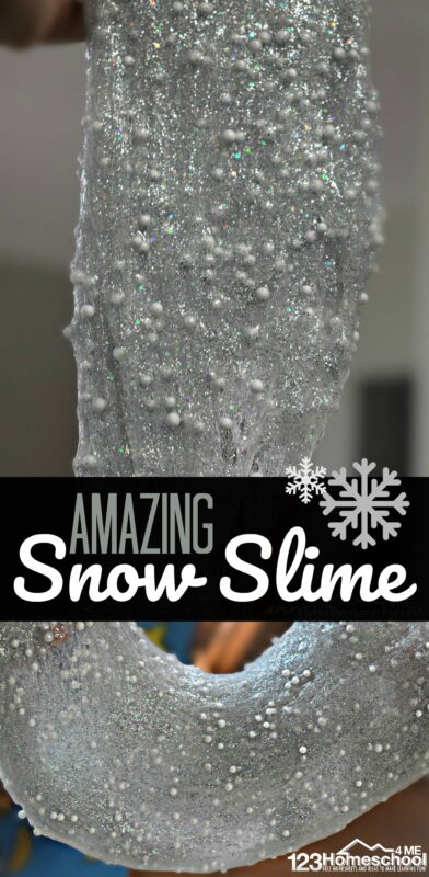 AMAZING Snow Slime - kids will love the texture of this fun to make DIY slime recipe! It has a beautifully glimmer, great stretch, and fun to play with snow ball texture #slime #slimerecipes #play #winteractivity #slimeactivity #kidsactivities #toddler #preschool #kindergarten