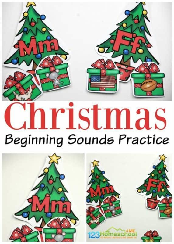 FREE Christmas Tree ABC Game - kids will have fun practicing sorting Christmas presents under the correct alphabet Christmas tree by listening for the beginning sound. Great literacy activity for prek, kindergarten and first grade for some fun Christmas learning or center in December #christmasphonics #christmaskindergarten #christmasprintable
