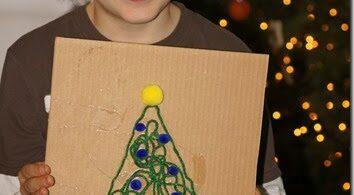 Yarn Christmas Tree Craft for Kids