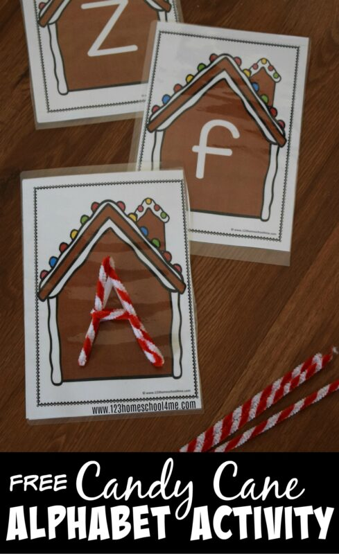 Kids willh have fun practicing forming both upper and lowercase letters with this clever, free Chrsitmas alphabet activity for preschool, prek, kindergarten, and first grade students. Used pipe cleners and our free gingerbread house mats. #christmasprintables #alphabet #kindergarten