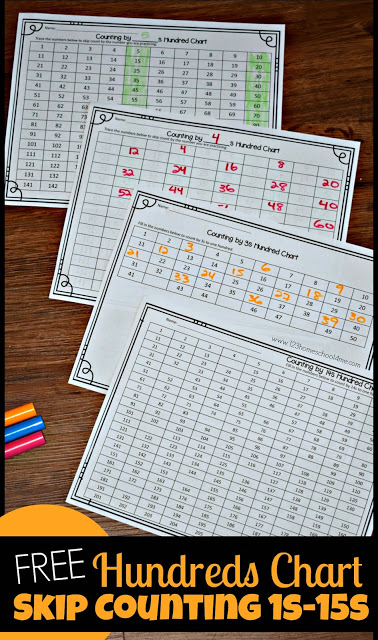 FREE Hundreds Chart Skip Counting by 1st-15s - these free printable math worksheets will help elementary age kids practice counting by 1s, 2s, 3s, 4s, 5s, 6s, 7s, 8s, 9s, 10s, 11s, 12s, 13s, 14s, and 15s. These are great math practice and a perfect foundation for multiplication for kindergarten, first grade, 2nd grade, 3rd grade, 4th grade, 5th grade, and 6th grade kids. Works with any curriculum and great for CC Foundations #skipcounting #hundredschart #classicalconversations