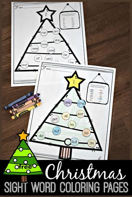 Make learning fun during December with these super cute, free printableChristmas sight word worksheets. To sneak in some engaging practice this holiday seasons simply decorate your Christmas sight word coloring sheets as you read, color, and learn! There are several pages of Christmas sight words worksheets each with a Christmas tree with sight word ornaments for you to identify and colour. This is such a fun literacy activity for preschool, pre-k, kindergarten, and first grade students.