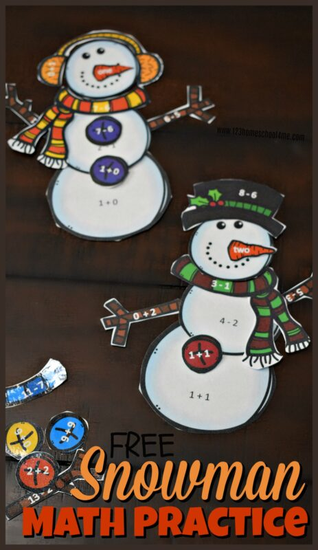 Kids will have fun practicing addition and subtraction with this super cute, free printable snowman math. Kindergarten and first grade students will love this snowman math activitiesthat help them practice addition to 10 and subtraction to 10 while having fun building a snowman in this winter math activity. Download pdf file withsnowman printableto get started on this winter math practice.