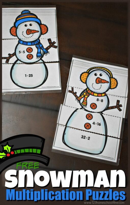 Make practicing math FUN with these super cute, FREE printable Snowman Multiplication Puzzles. This snowman math allows 3rd grade, 4th grade, 5th grade, and 6th grade students to sneak in some handy review multiplying numbers and gaining fluency with math facts, while having fun building a puzzle. ThisSnowman Mathprintable is perfect for winter during the months of December, January, and February. Download pdf file with multiplication snowman math puzzles for a fun snowman math activity!