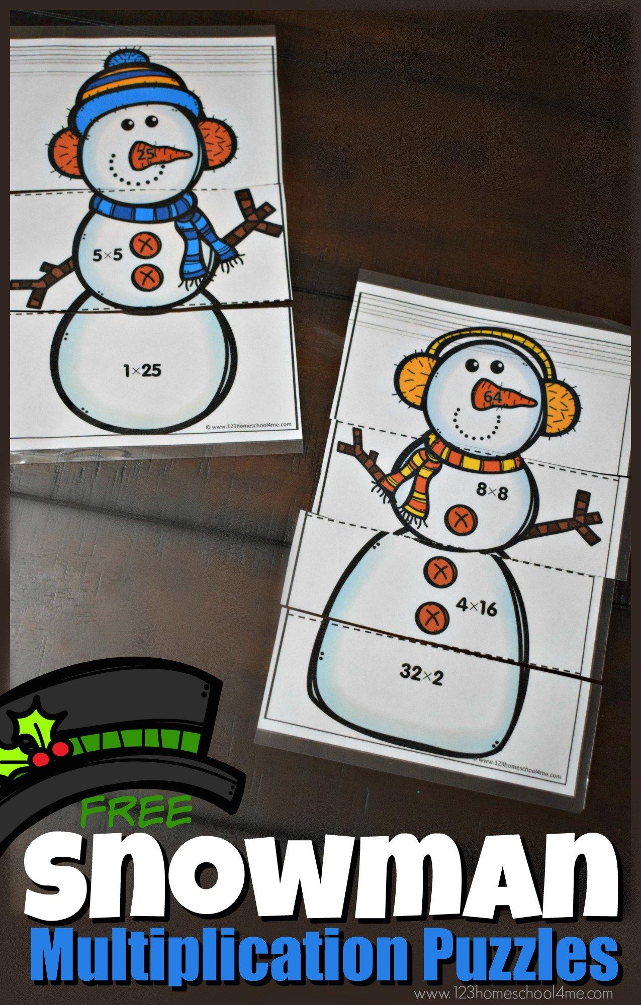 free-snowman-multiplicaiton-puzzles