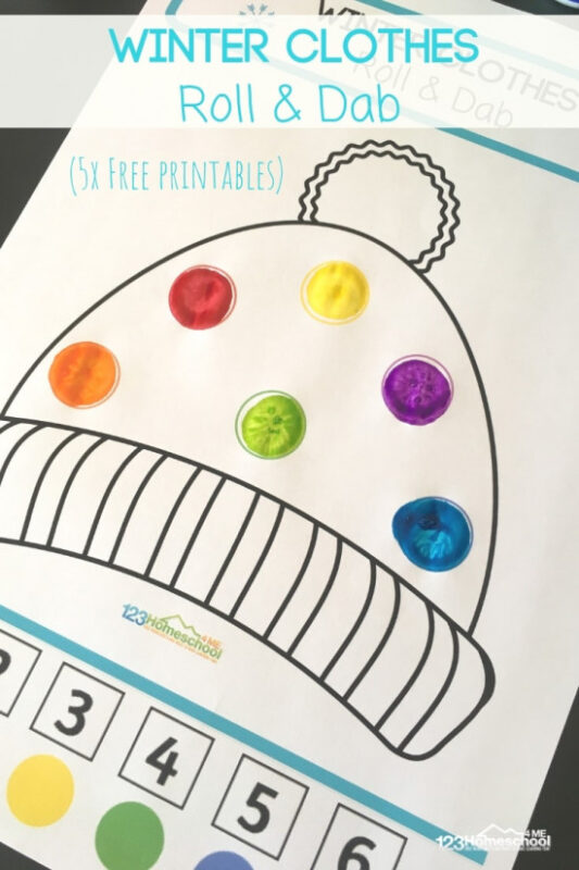 Practice identifying colors with this free printable winter roll and color pages for a fun winter themed activity for toddler, preschool, pre-k, and kindergarten age students. These fun Dab it Worksheets use bingo markers to make practicing number recognition and color recognition easy!  Download pdf file with the winter printables pack and have fun coloring your pages.