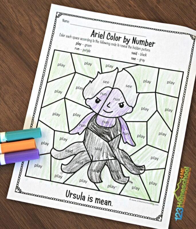 Ariel-Preschool-Sight-Words-Coloring-Page
