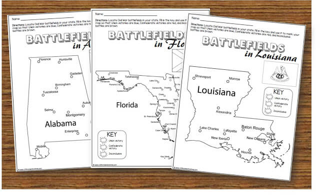 Civil War Worksheets for Kids showing Battlefields by State