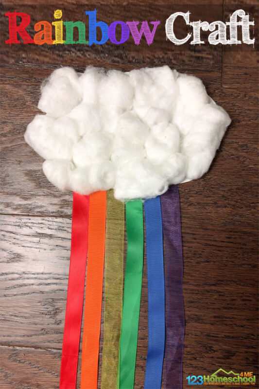 Today we are sharing a fun cloud rainbow craftfor kids to make! This rainbow cloud craft is the perfect craft to make to celebrate spring and as part of a weather theme, Saint Patricks Day theme, during the month of March, or as a Spring craft for kids! All you need are a few simple materials to make this prettycloud and rainbow craftwith toddler, preschool, pre-k, kindergarten, and first grade students!