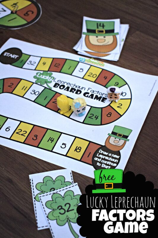 Make practicing identifying factors FUN with this St Patricks Day Printables. This St Patrick's Day Math is a free printable Leprechaun Factors Game for third grade, 4th grade, 5th grade, and 6th graders. The St patrick's day math activity includes both afactorsmath game where you will move around the gameboard to help the leprechaun get all the four leaf clover factors. It also includes no prep St Patrick's Day Worksheets to practive factors on Saint Patricks Day. Simply download pdf file with lucky leprechaun games.