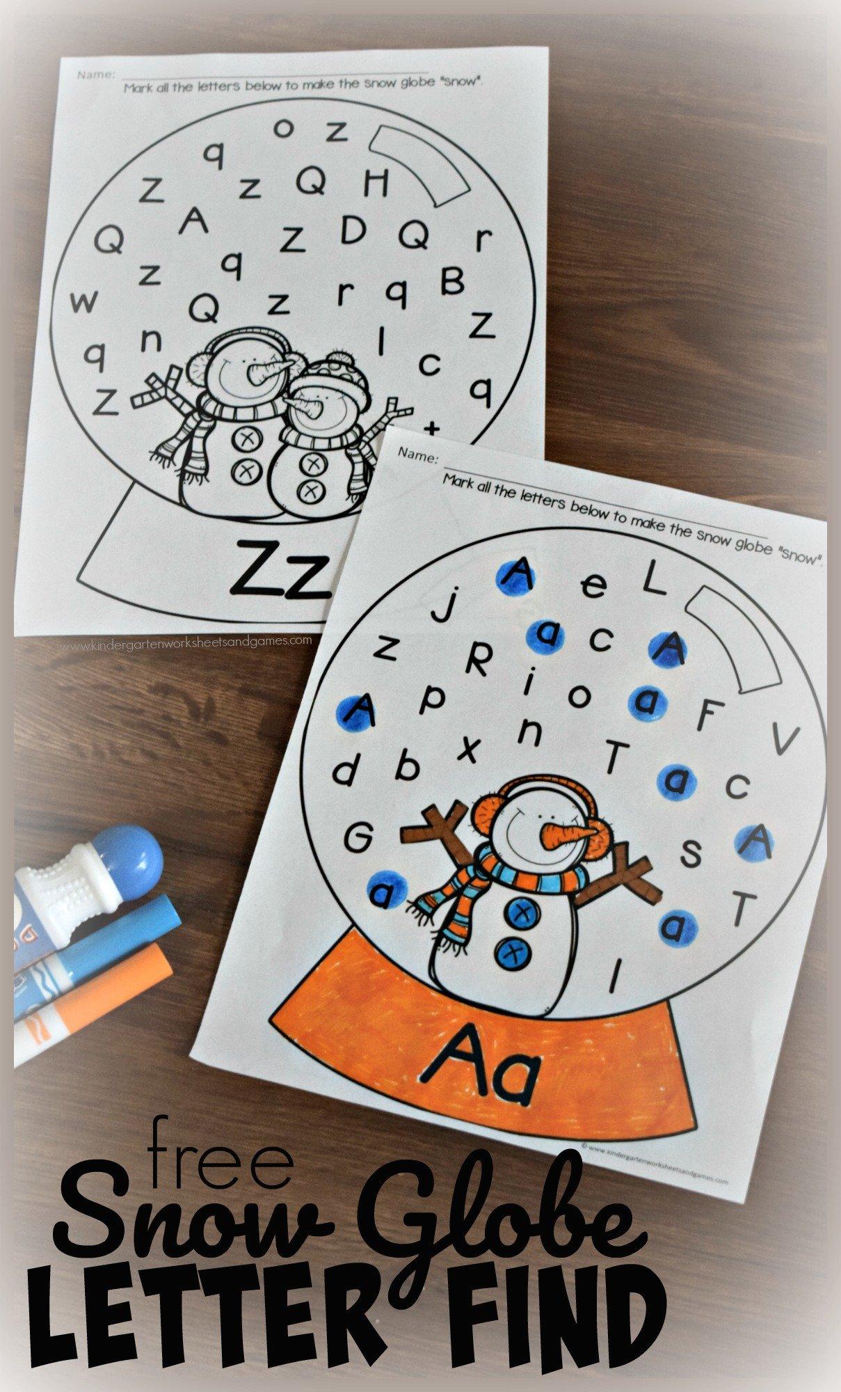 Free Winter Letter Find Worksheets