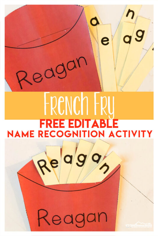 Kids will have fun practicing spelling their name with this fun-to-make French Fry theme name recognition activity. Using name activities with toddler, preschool, pre-k, and kindergarten age children is a great way to teach kids to spell their name while having fun. Download pdf fiel with free french fry template to use this fun preschool name ideas.