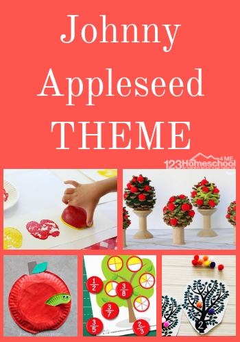 Johnny Appleseed Day Activities for Sept 26th - tons of free printable and clever activities for a Johnny Appleseed theme perfect for September with preschool, kindergarten, and elementary age kids to learn about math, literacy, science, and history. #johnnyappleseed #johnnyappleseedday #septembertheme #appletheme #themesforkids #preschoolthemes #kindergartenthemes #unitstudies
