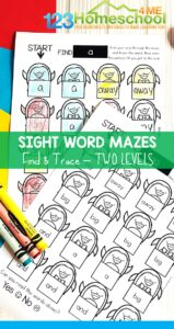 Penguin-Sight-Word-Mazes