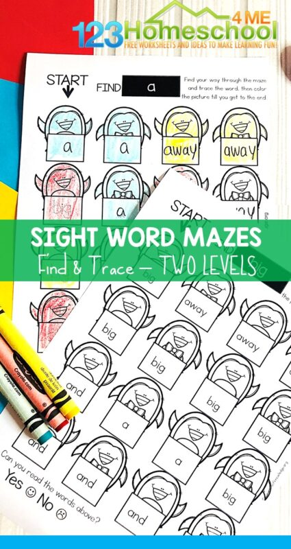 Kids will have fun practicing reading sight words with these super cute, free printable Penguin Sight Word Maze pages. These pre k sight words worksheets are a fun way to improve fluency with sight words for preschool, pre-k, and kindergarten age students. The fun arctic animal or winter theme is perfect for December, January, or February.