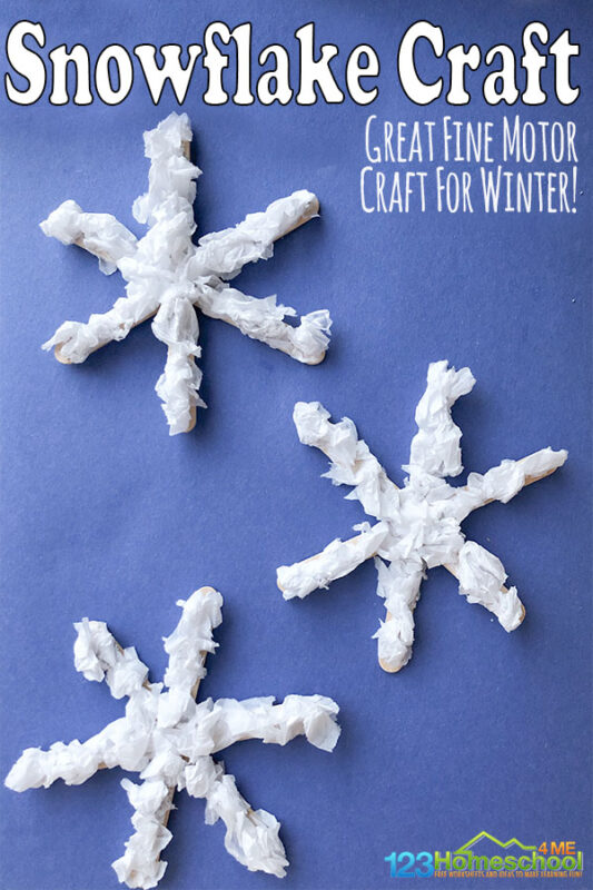 Celebrate the arrival of winter by making sometissue paper snowflakes! This fun snowflake craft is perfect for toddler, preschool, pre-k, kindergarten and first grade student. As students make this fun winter craft they will also work on fine motor skills and be able to decorate the house for December, January, and February too. These popsicle stick snowflakes use simple materials you might already have in your craft supplies, and is a great way to recycle that tissue paper left over from Christmas. The kids will put their little hands to work tearing and pinching the paper so this is also great fine motor practice!