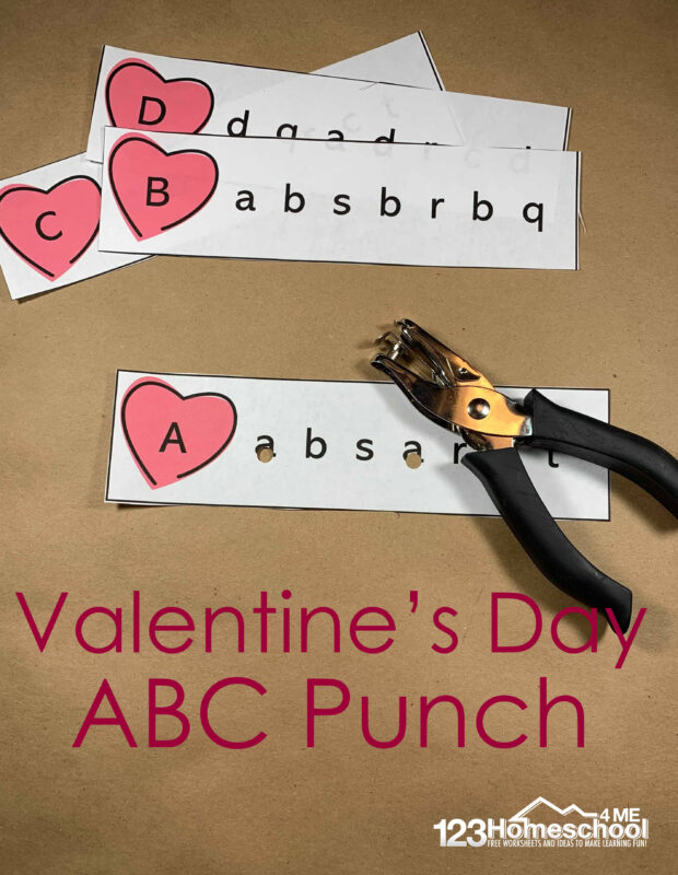 Free printable Valentine's Day Worksheets where preschool, pre-k, and kindergarte age children will Hole Punch Letters is the perfect way to help reiterate what the lowercase letters are and how they match up to uppercase. Simply download pdf file with valentines day activity and you are ready to play and learn.