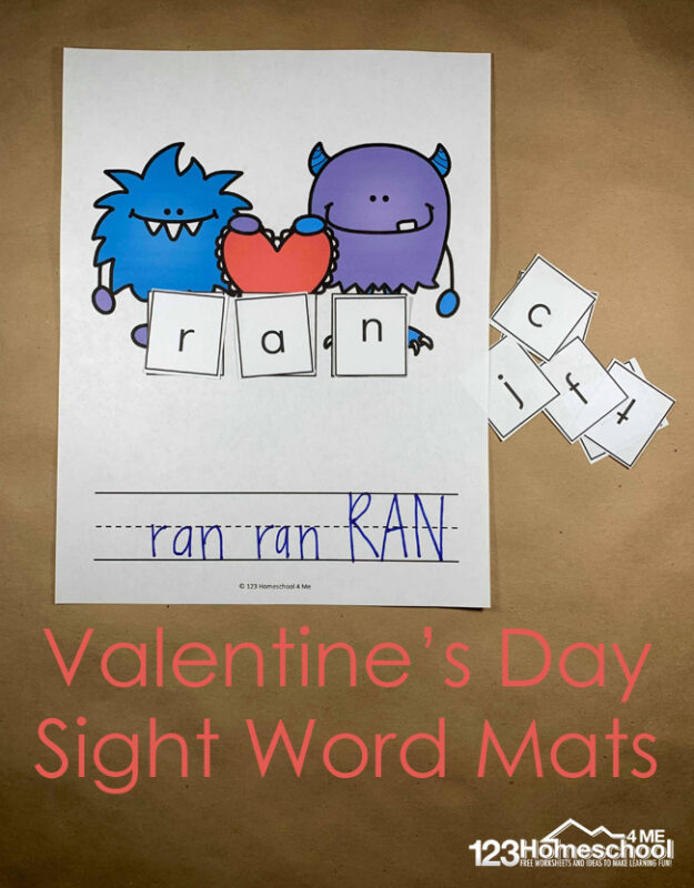 FREE Valentine's Day Sight Word Mat - help kids practice CVC words and key sight words words with this free printable valentines day activity for preschool, kindergarten, and first grade kids. #valentiensday #cvcwords #kindergarten