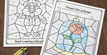 belle-color-by-number-worksheets