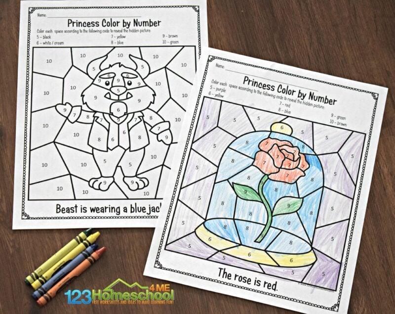 belle-color-by-number-worksheets
