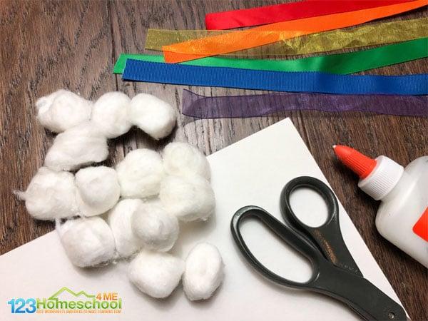 cotton-balls-ribbon-craft-for-kids