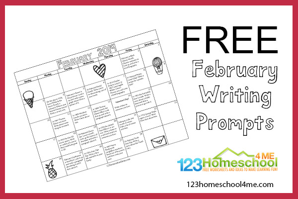 February 2019 Calendar Letter Writing Prompts February Writing Prompts Calendar | 123 Homeschool 4 Me