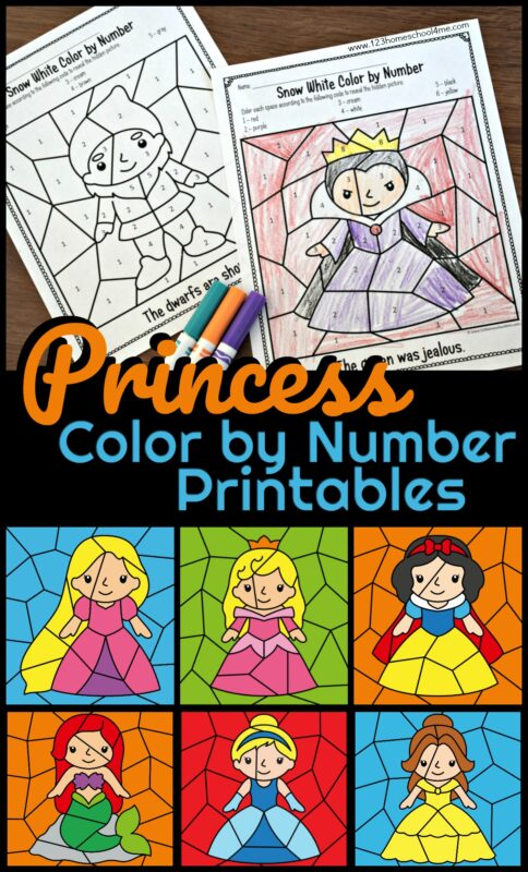 These adorableprincess color by number Printables are such a fun way for young kids to practice number recognition, strengthen fine motor skills, and have fun coloring at the same time. Toddler, preschool, pre k, kindergarten, and first grade students will have fun as they color by code to make these favorite Disney movie characters from Snow white, Tangled, Sleeping Beauty, Ariel, Cinderella, and Beauty and the Beast.