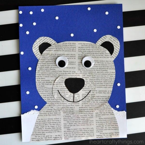 newspaper-polar-bear-craft-for-kids