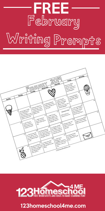 FREE February Writing Prompts Calendar - make coming up with creative writing prompts quick and easy with this free printable. Tons of FUN ideas for kids of all ages to write about. #february #writingprompts #creativewritingprompts