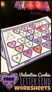 find the letter valentine's day worksheets