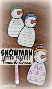 snowman printables letter tracing