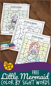 free-little-mermaid-color-by-code-preschool-sight-words