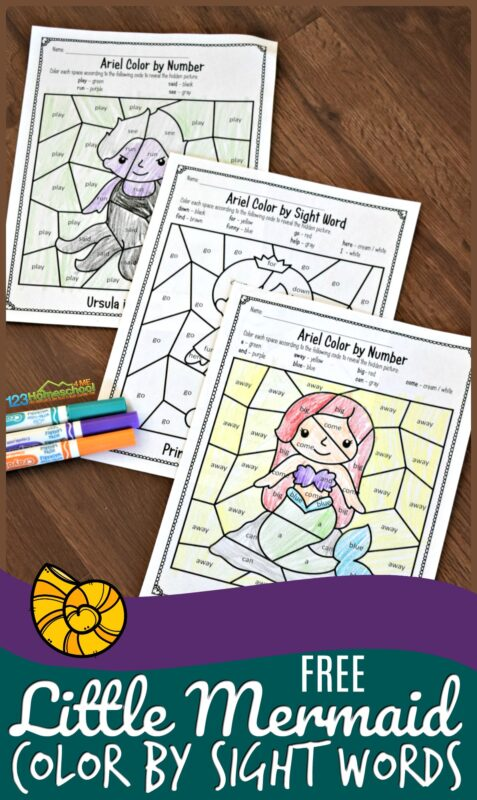 FREE Little Mermaid Color by Sight Words - kids will have fun practicing reading with these sight word worksheets featuring ariel, ursula, prince eric, and more! These are great for summer learning, extra seat work, and fun practice for preschool, prek, kindergarten, and first grade kids #sightwords #worksheetsforkids #colorbycode