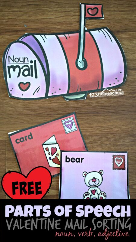 FREE Parts of Speech Valentine Mail Sorting - this clever, free printable language arts activity makes it fun for elementary age kids to practice identifying nouns, verbs, and adjectives during February #partsofspeech #nouns #verbs #adjectives #freeprintable #homeschooling #valentinesday #educationalactivity