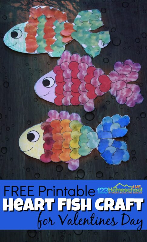 graphic relating to Printable Valentines Craft named Middle Fish Craft for Valentines Working day 123 Homeschool 4 Me