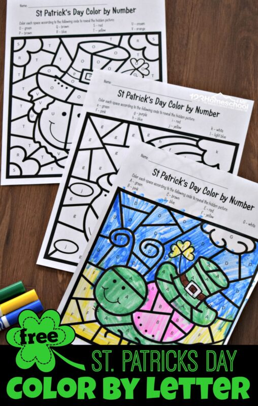 FREE St Patricks Day Color by Letter - kids will have fun practicing alphabet letter recognition with these free printable march themed preschool and kindergarten worksheets #kindergarten #colorbyletter #alphabet